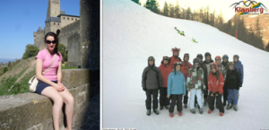 1. Colette in France 2. Catherine accompanying a school ski trip