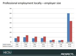 Fig. 10. Comparison of size of employer of those graduates working in professional level jobs in the region. Image © Charlie Ball, HECSU/ Prospects 2018 published here with permission